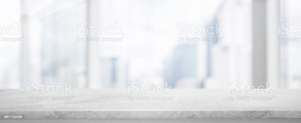 White Stone table top and blur glass window wall building banner background with vintage filter - can used for display or montage your products. stock photo