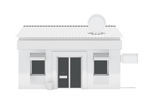 prédio branco com rótulos loja - facade shop 3d - fotografias e filmes do acervo