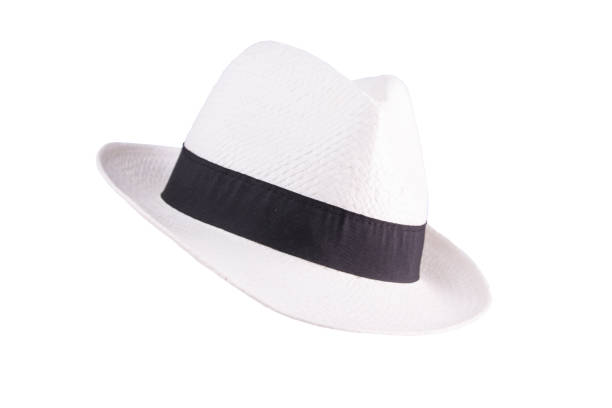 White straw hat. Isolated stock photo