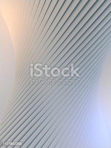 istock White stripe pattern futuristic background. 3d render illustration 1127642205