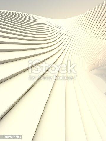 istock White stripe pattern futuristic background. Computer generated geometric shape. 3d render illustration 1132507753