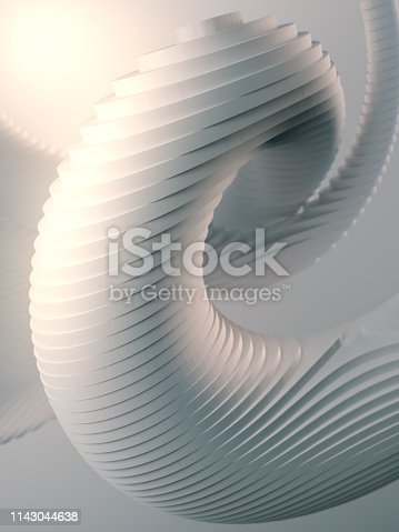 607742010 istock photo White striped futuristic pattern surrounded by light mist. Computer generated geometric shape. 3d render illustration 1143044638
