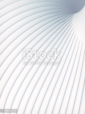 607742010 istock photo White striped futuristic pattern surrounded by light mist. Computer generated geometric shape. 3d render illustration 1159420120