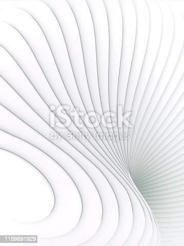 607742010 istock photo White striped futuristic pattern surrounded by light mist. Computer generated geometric shape. 3d render illustration 1159691929
