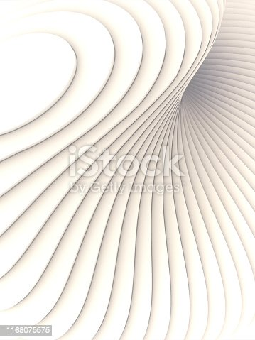 607742010 istock photo White striped futuristic pattern surrounded by light mist. Computer generated geometric shape. 3d render illustration 1168075575