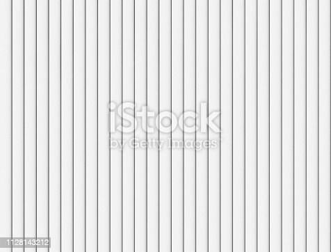 White strips lines or battens wall or fence pattern surface texture. Close-up of interior material for design decoration background. 3d abstract illustration