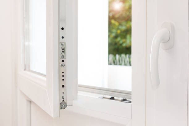 White strong modern window and balcony door - Home safety Secure anti-theft burglars-proof window locking mechanism – strong modern white PVC metal window symmetry stock pictures, royalty-free photos & images
