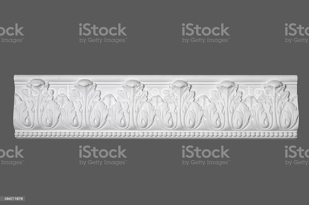 white stucco moulding, elements of wall design stock photo