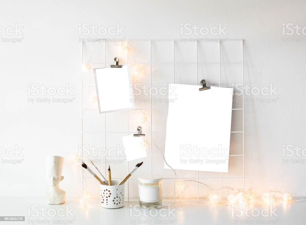 White studio room interior with posters mock-up, scandinavian st stock photo