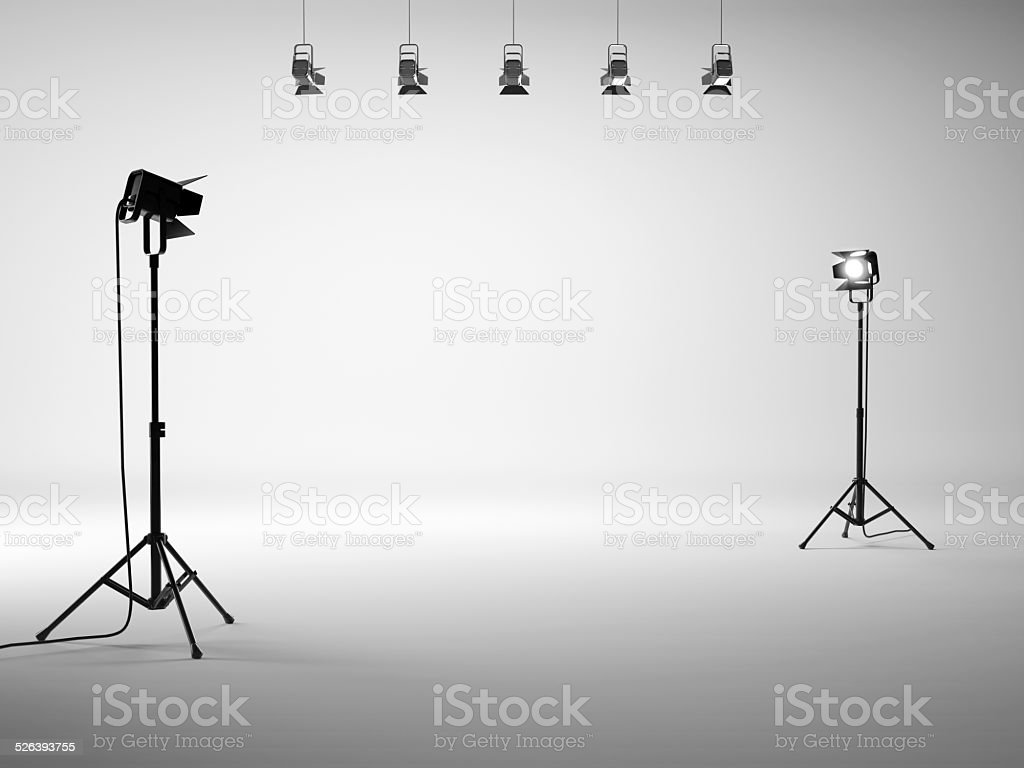 White studio with equipment stock photo