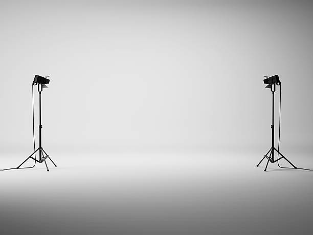 White studio with lights stock photo