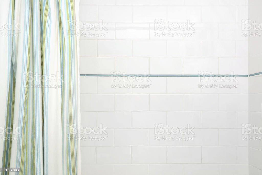 White Subway Tile in Shower Stall stock photo
