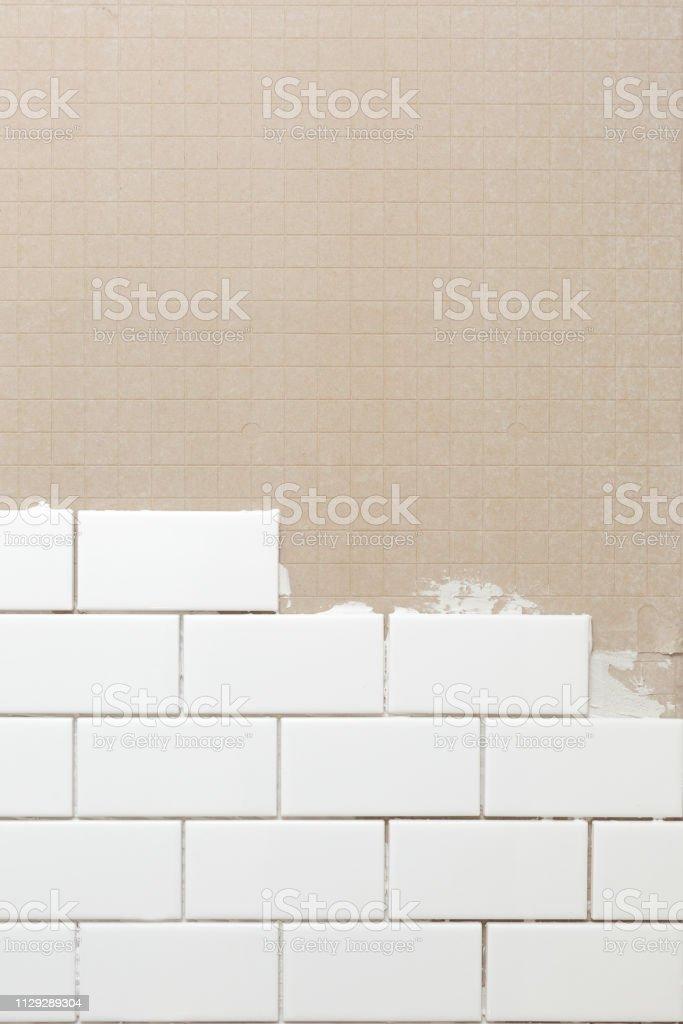 White subway tile on concrete board stock photo