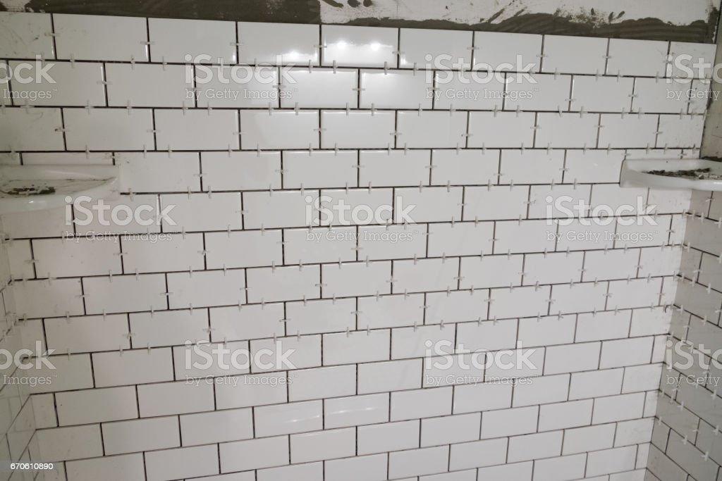 White Subway Tile Tub Surround stock photo