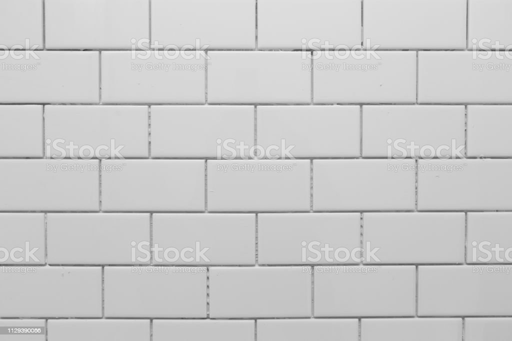White subway tile without grout stock photo