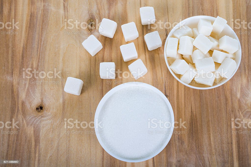 White sugar in a white bowls foto stock royalty-free