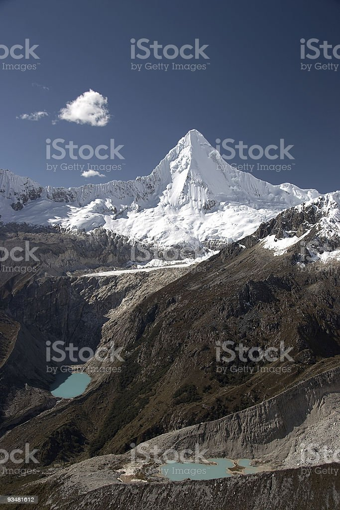 White summit and two lakes, Andes royalty-free stock photo
