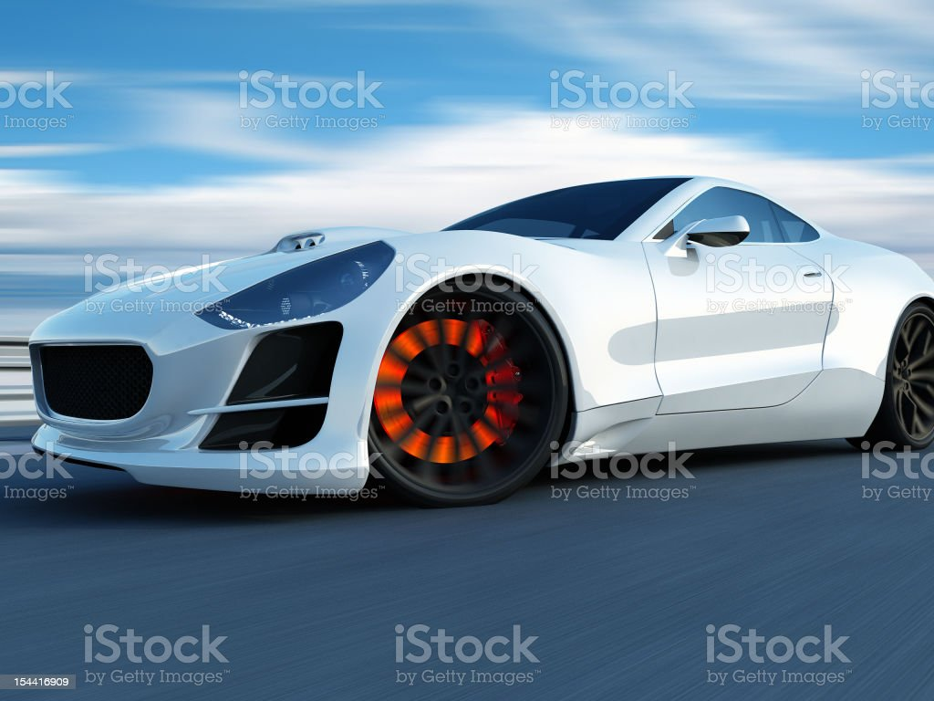 white super car on the racing track stock photo