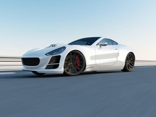 Blanc super voiture sur la piste de course - Photo