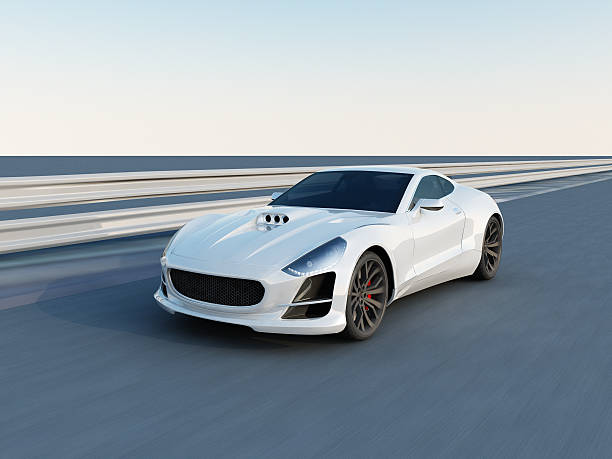 white super car on the racing track This white sport car is a concept design is made by myself. This super sport car comes without any manufacture brands. The image is a CGI. luxury car stock pictures, royalty-free photos & images