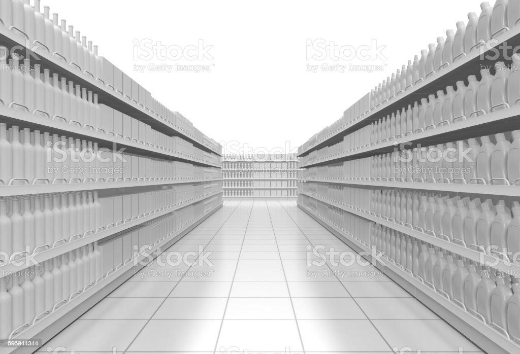white supermarket corridor stock photo