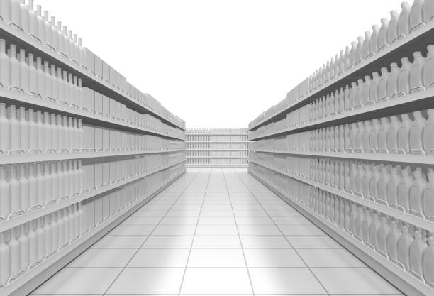 white supermarket corridor one supermarket corridor with shelves full of products, on white background (3d render) aisle stock pictures, royalty-free photos & images