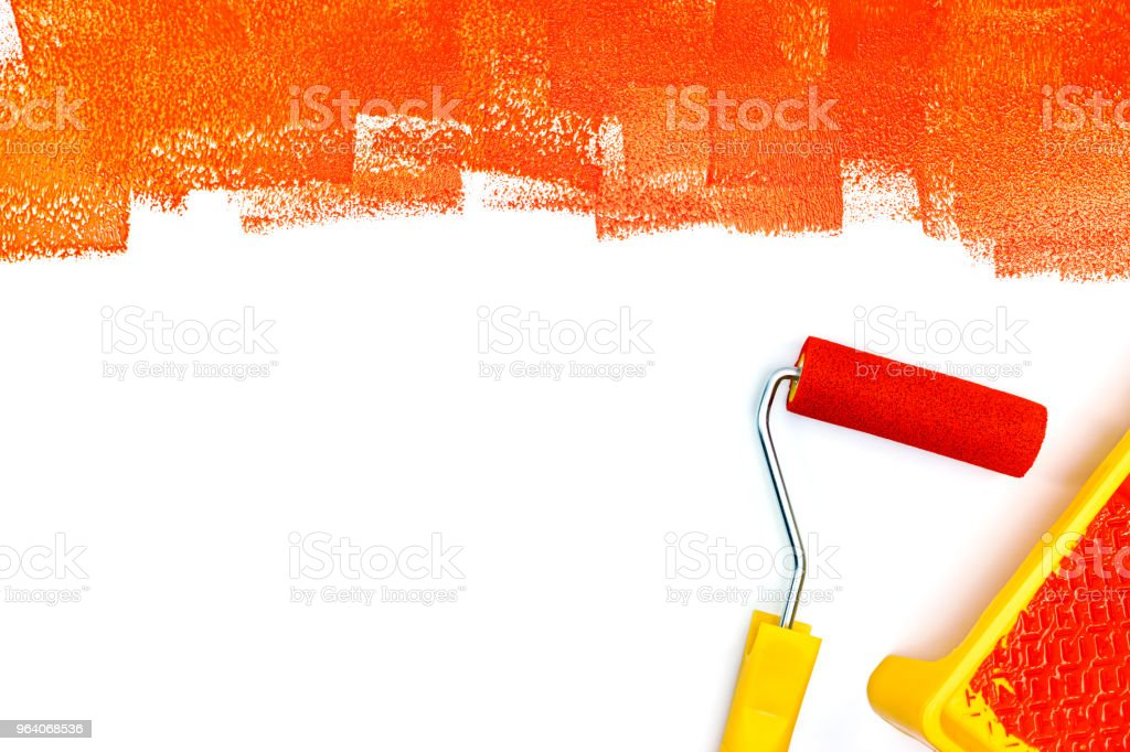 white surface painted in red. painting tools flat view - Royalty-free Apartment Stock Photo