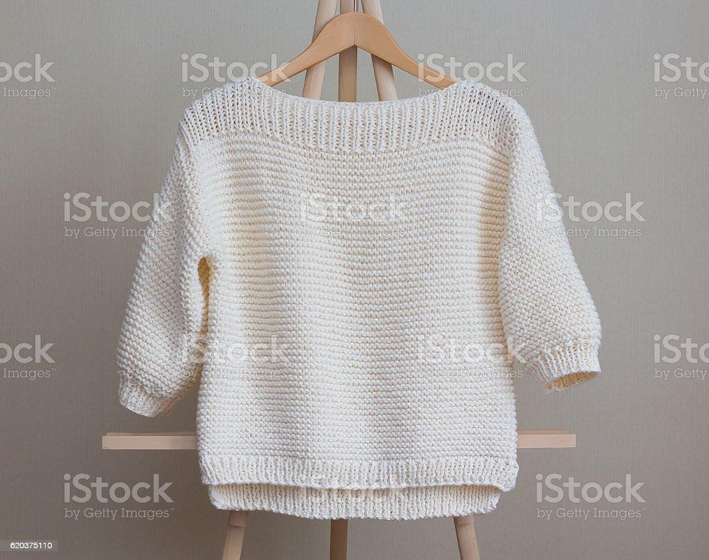 White sweater knitted manually zbiór zdjęć royalty-free