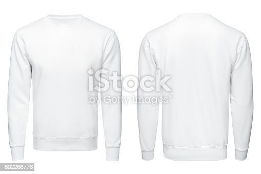 white sweatshirt,, clothes on isolated white background