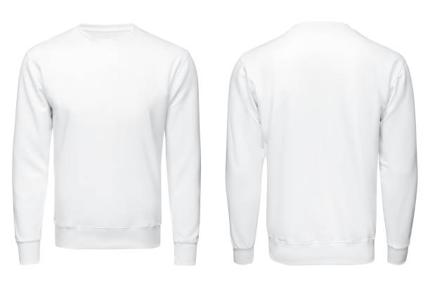 white sweatshirt,, clothes on isolated white sweatshirt,, clothes on isolated white background sweater stock pictures, royalty-free photos & images