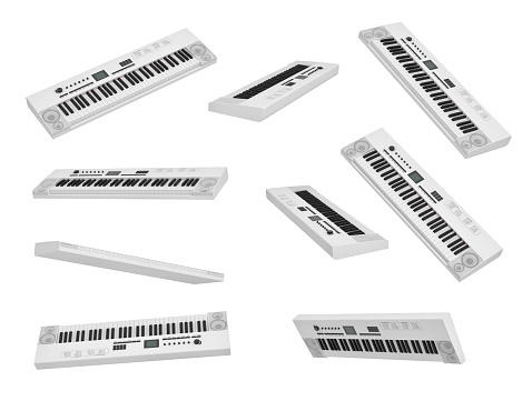 white synthesizer, electronic piano, musical instument isolated on white background 3d rendering