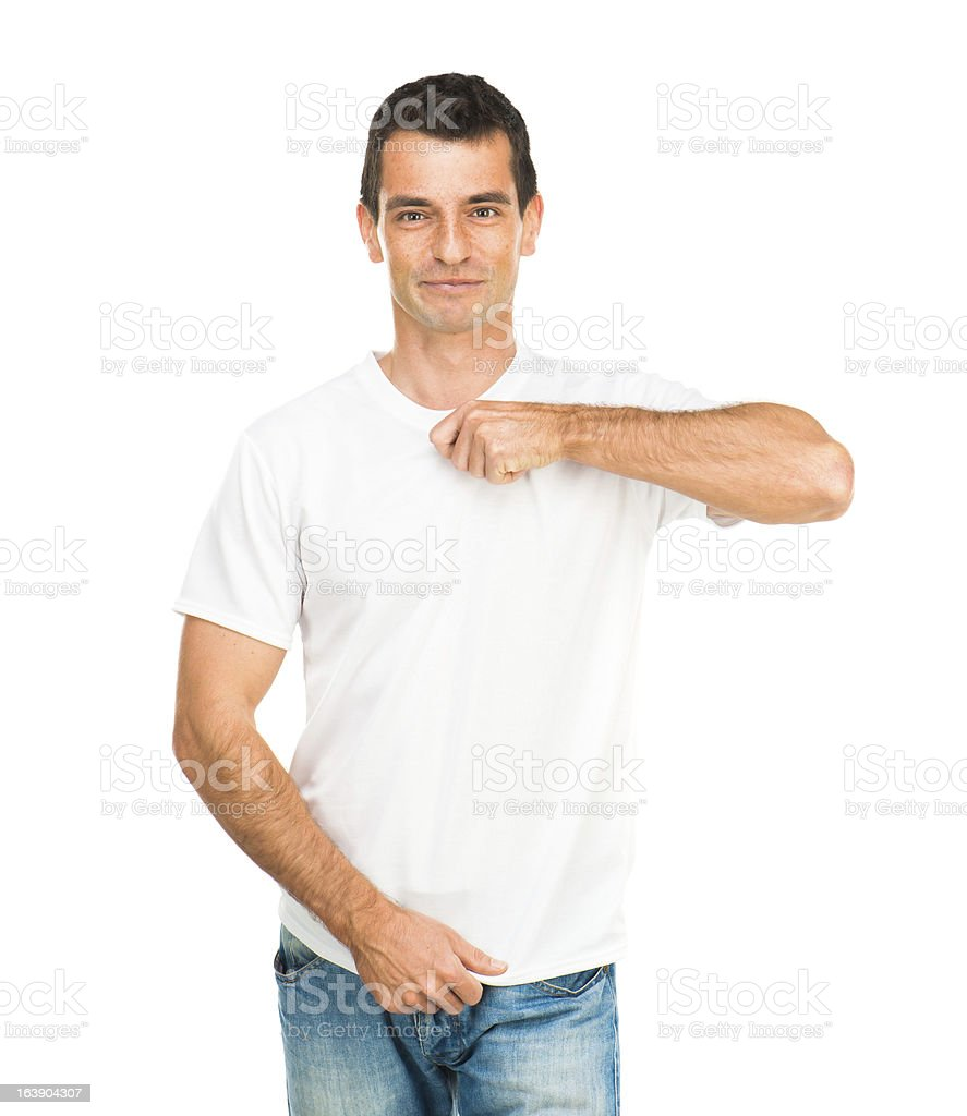 white t shirt on a young man royalty-free stock photo