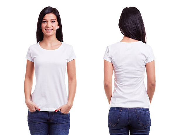 인명별 t 셔츠 한 젊은 여자 형판 - 백인종 뉴스 사진 이미지