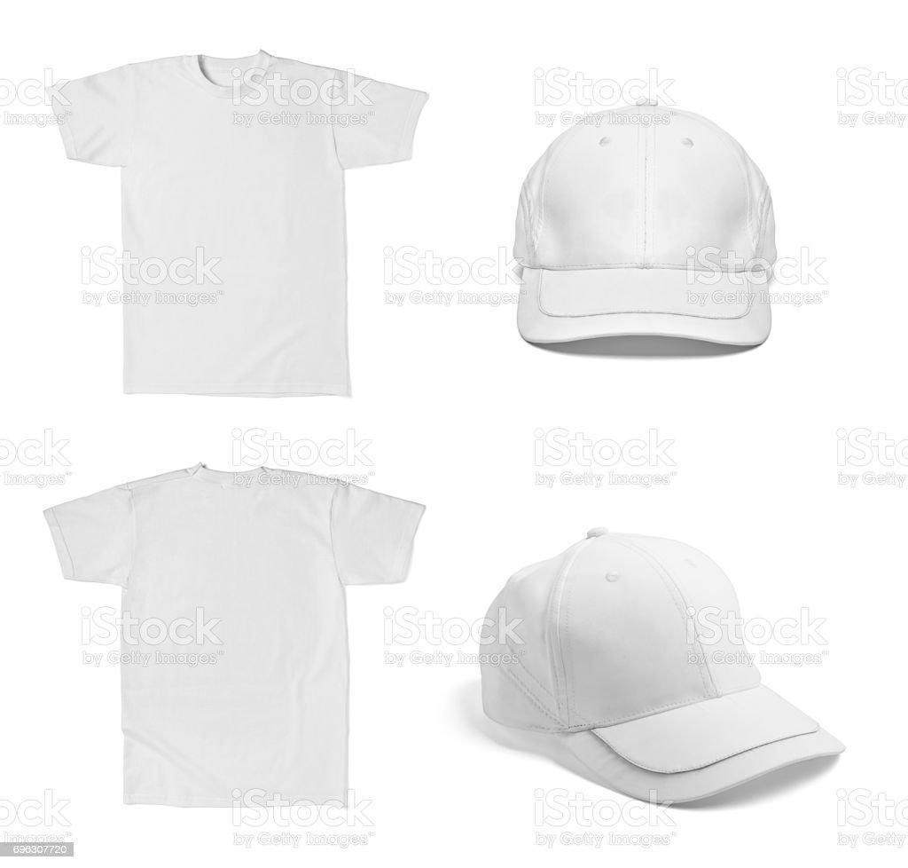 white t shirt template baseball cap cotton fashion stock photo