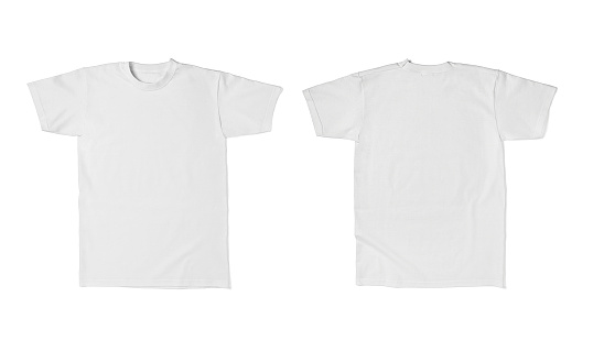 close up of  a white t shirt template front and back on white background. each one is shot separately