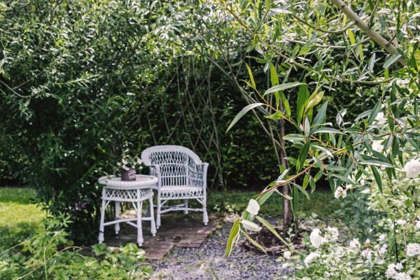 weißer Tischset mit Pflanzen im grünen Garten – Foto