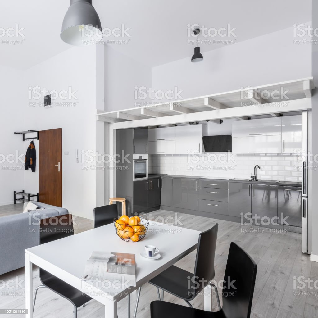 Picture of: White Table With Black Chairs Stock Photo Download Image Now Istock