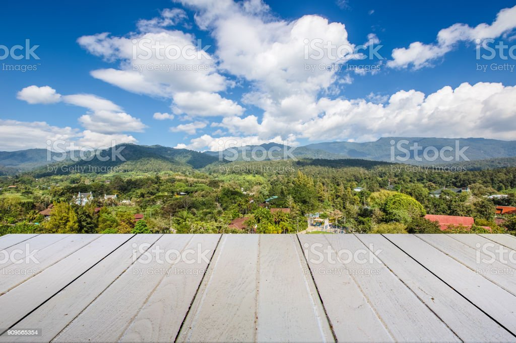 white table with mountian landscape stock photo
