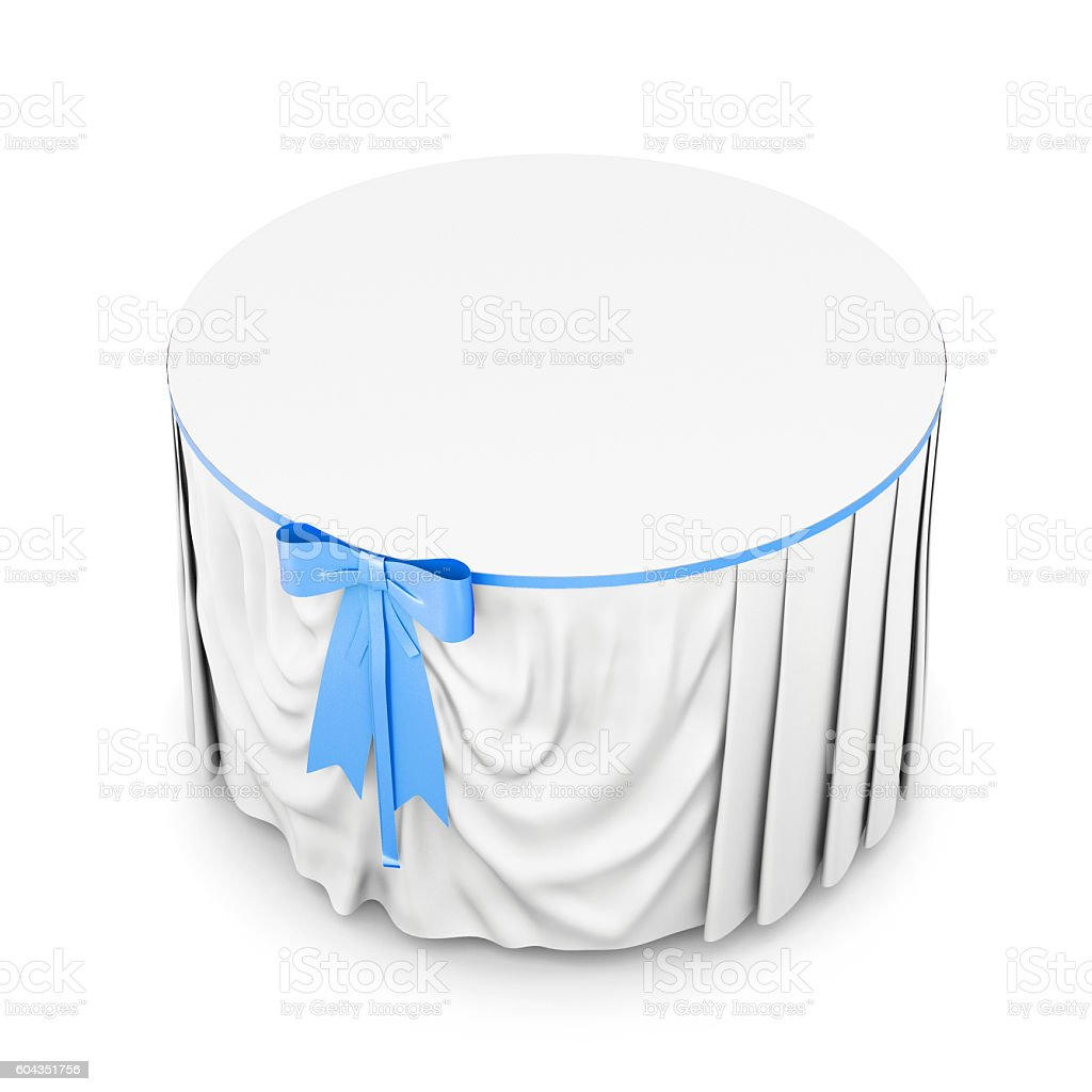 White tablecloth with blue bow isolated on white background. 3d stock photo