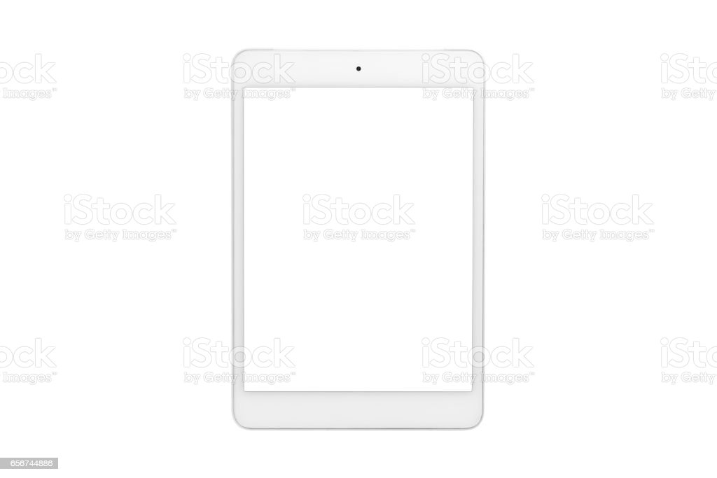 White tablet computer with blank screen on isolated white background stock photo