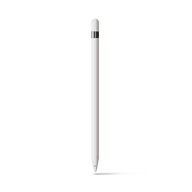 Bianco tavoletta con matita bastone isolato dallo stilo - foto stock