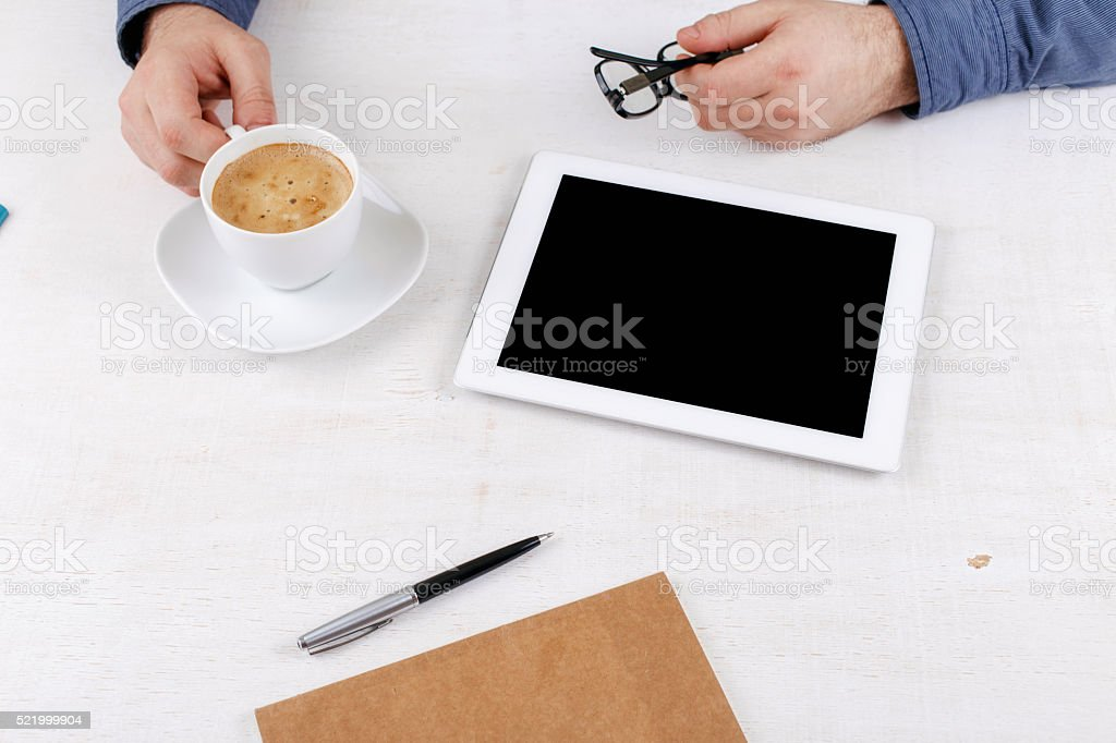 White tablet with a blank screen stock photo