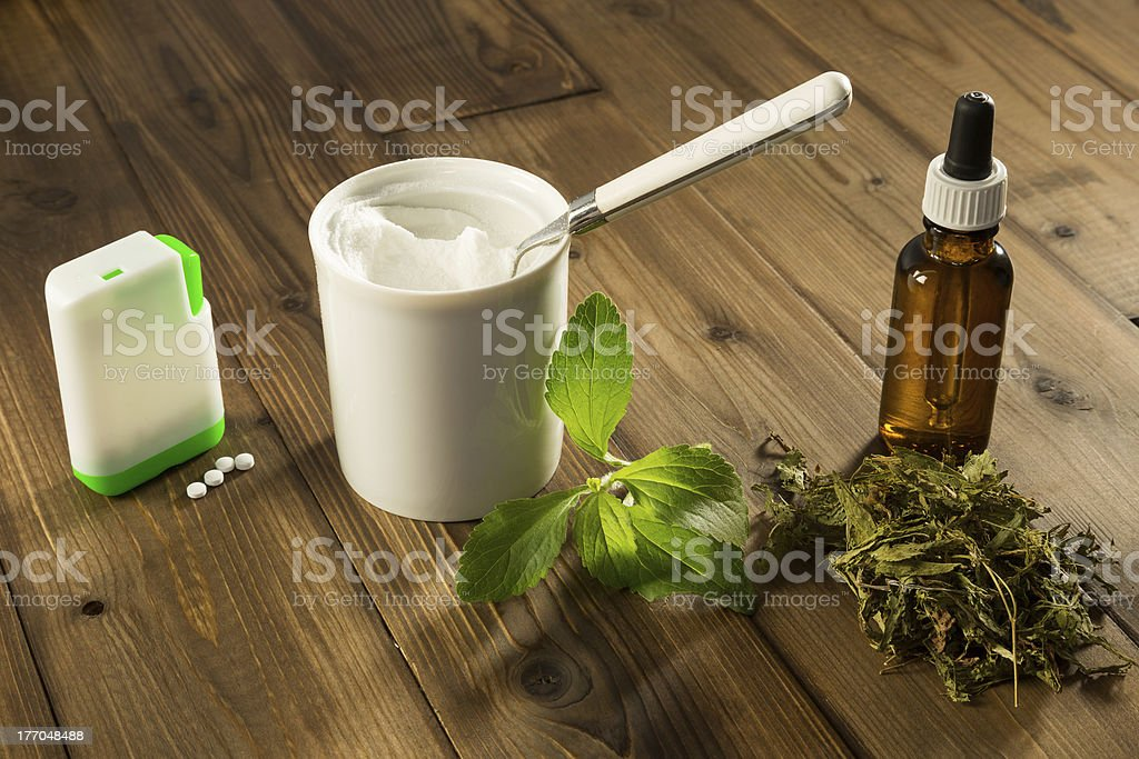 White tablets of stevia stock photo