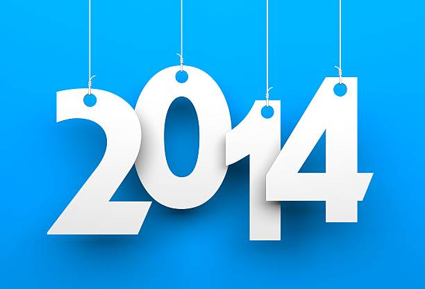 White tags with 2014 White tags with 2014 on blue background 2014 stock pictures, royalty-free photos & images