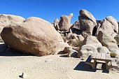 Picnic table at White Tank Campground, near the Arch Rock at Joshua Tree National Park