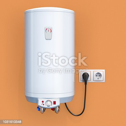 istock white tank electric water heater in interior, 3D rendering 1031610348