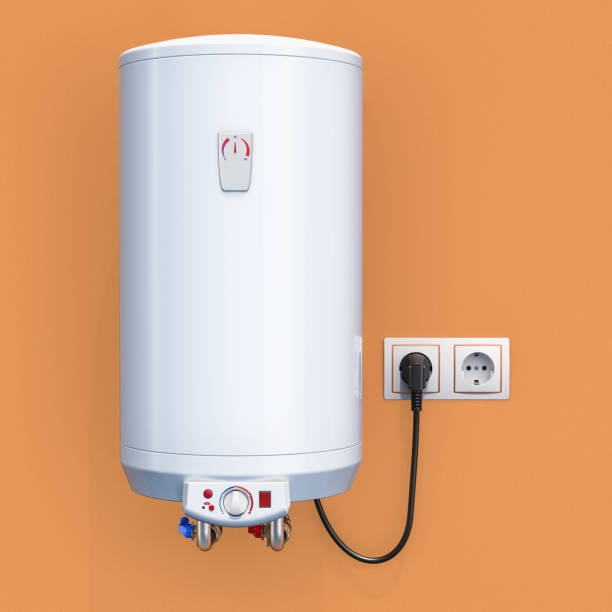 white tank electric water heater in interior, 3D rendering stock photo