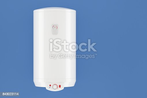 istock white tank electric water heater on blue wall, 3D rendering 843023114
