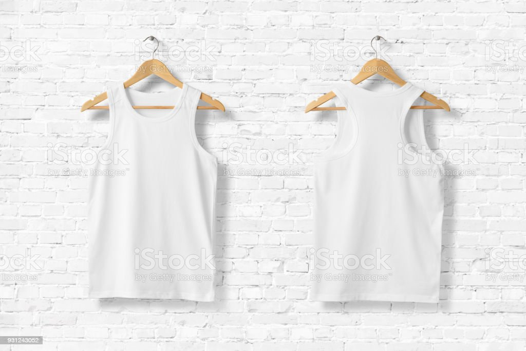 c1af9c5fc White Tank Top Shirt Mock-up hanging on white brick wall, front and rear  side view. - Stock image .