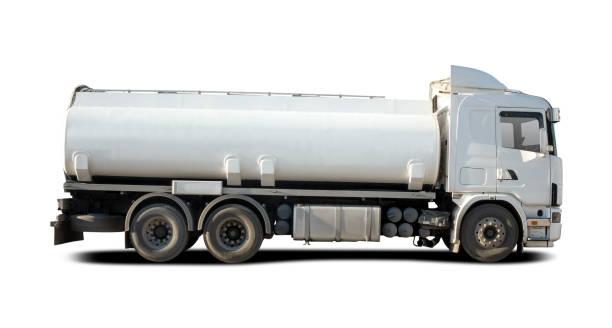 White tanket truck stock photo